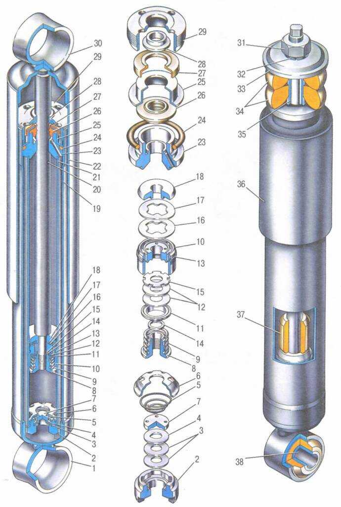 Схема установки амортизатора ваз