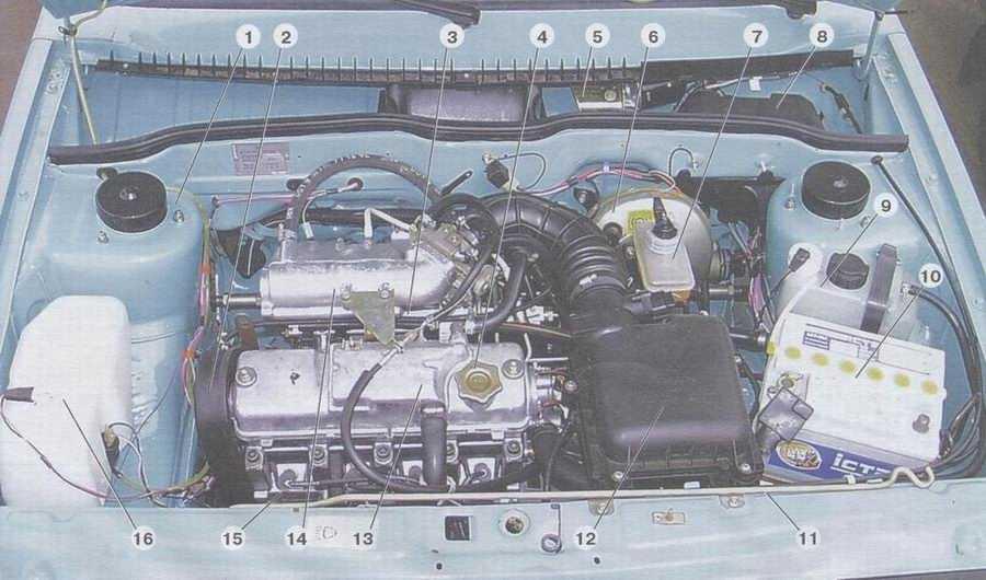 статья про расположение основных узлов и агрегатов на автомобиле ваз 2108, ваз 2109, ваз 21099