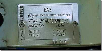 Идентификационные номера автомобиля и двигателя ВАЗ 21213, 21214 (Нива)