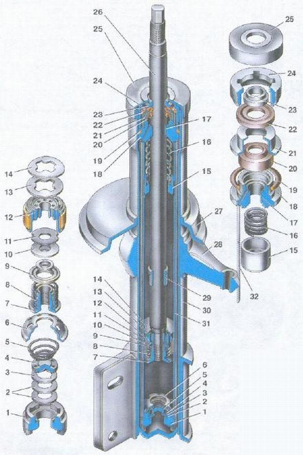 Телескопическая стойка передней подвески автомобиля ваз 2108, ваз 2109, ваз 21099