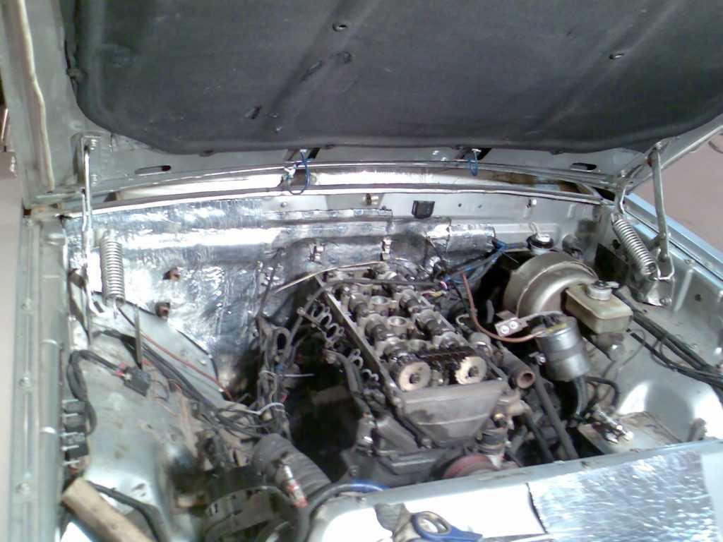 виброизоляция Перегородка моторного отсека со стороны мотора на Волге Газ 3110